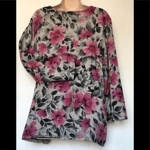 New Alfred Dunner floral sweater sparkling top wom
